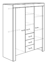 paidi mees kleiderschrank 3 t rig 3 schubk sten 1250311 m bel zum. Black Bedroom Furniture Sets. Home Design Ideas